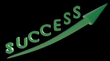 SUCCESS written in 3D green font with up going arrow. Moving up, business, financial success. 3D render.