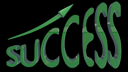 stylized banking: SUCCESS written in 3D stylized green font with up going arrow. Moving up, business, financial success. 3D render.