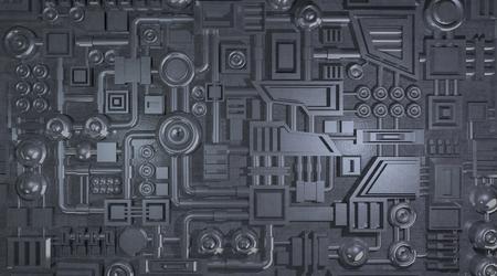 금속 기계 전자 상세 텍스처, 3D 렌더링 스톡 콘텐츠