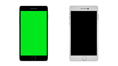 media gadget: Two phone devices with blank screens black and white. 3D render. Stock Photo