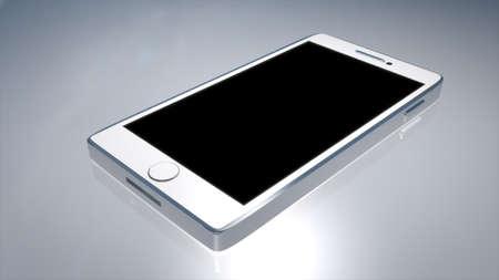 White Phone Blank Screen. 3D render.