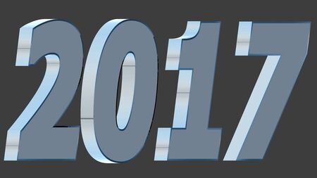2017 written in 3D metallic font. Isolated, easy to use. Stock Photo