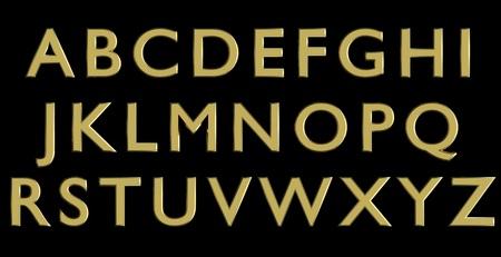 English alphabet in gold upper case letters, custom 3D font variant.