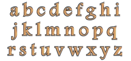 English alphabet in gold lower case letters, custom 3D font variant.