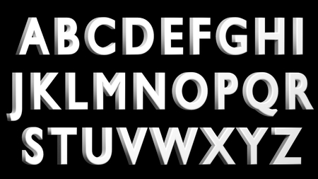 English alphabet, 3D white font, uppercase. Isolated, easy to use. FACING RIGHT VERSION. Stock Photo