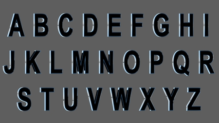 English alphabet, 3D uppercase font, black with metallic sides. Isolated, easy to use.