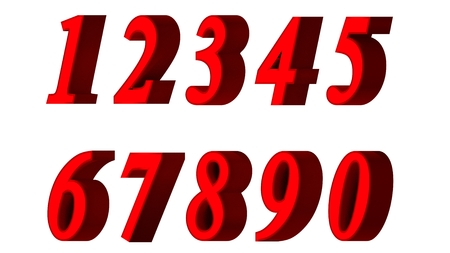 Set of 3D numbers. Red font in white background. Isolated, easy to use.