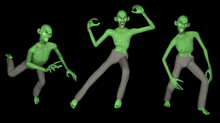Set of three green Goblins in different poses. Isolated. Perfect for Halloween decorations. 3D render.