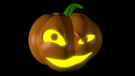 Halloween pumpkin, Jack O Lantern, with glowing eyes and mouth. Halloween decoration. Isolated. 3D render. Stock Photo