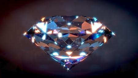 Big Shiny Diamond with dark background. 3D render. Фото со стока