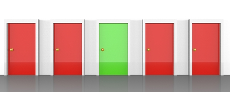 Set of doors with all being red, but the right one being green. Represents right choice, right path, or a good possibility. 3D rendering.