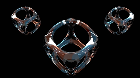 Set of three 3D rendered glass object isolated in black background. Modern and minimalist style decoration. 写真素材