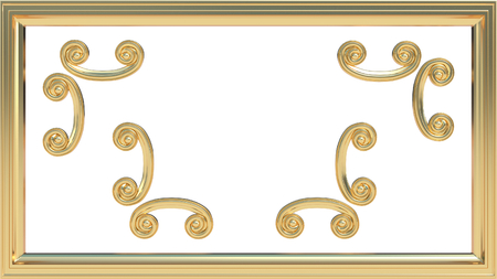Gold blank picture frame with a set of decorations to be used along or separately. 3D rendered.