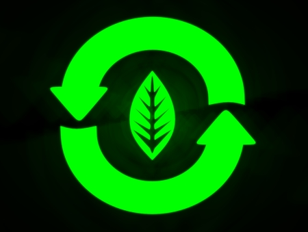 Green Glowing Recycle Icon with Leaf in the Center in black background. Stock fotó