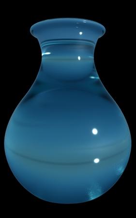 Blue glass vase, isolated, black background. 3D render. Reklamní fotografie