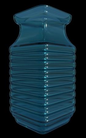 Blue glass vase, isolated, black background. 3D render. Stock Photo