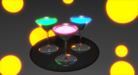 Drink glasses filled with colorful glowing drinks, standing on a tray. Dark club abstract surrounding. 3D rendering.