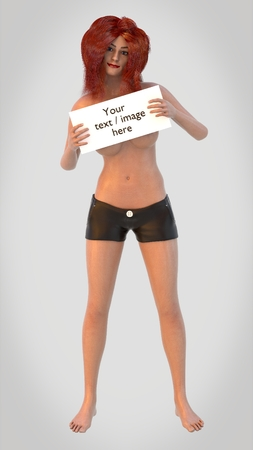 Topless red headed girl holding a blank sign, covering her breasts.