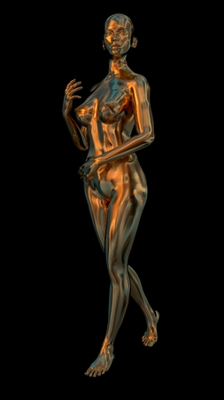 3D model of a gold woman figure. Black background. Foto de archivo