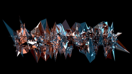 3D abstraction. A long spiky object made of reflective glass, with blue and orange colors reflecting from its edges. Modern style art decoration. Reklamní fotografie