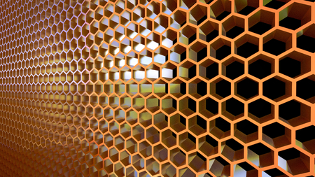 Metal honeycomb cells 3D render.