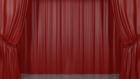3D rendering of a classy red theater stage curtain. Nobody, blank, empty stage. Banque d'images