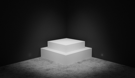 3D render of a white pedestal in black studio for presentations. Banque d'images - 105731390