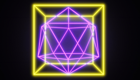 Retro style neon glowing geometric shapes, one within another, 3D render. 版權商用圖片 - 105731442