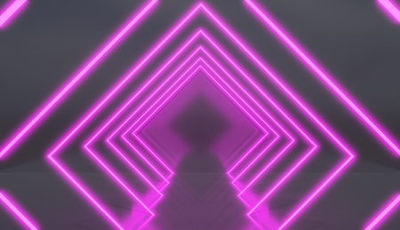 Rhombus tunnel made of pink neon lights, retro style render.