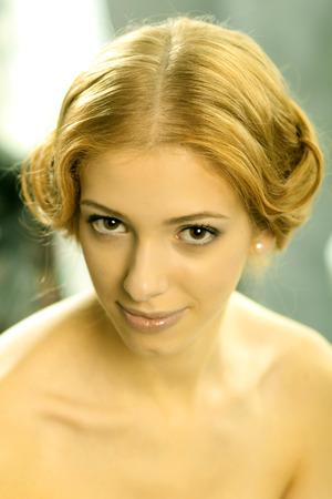 neckline: Portrait of attractive girl in vintage dress with a plunging neckline