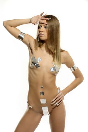 bodyart: Nude girl in the original silver bikini