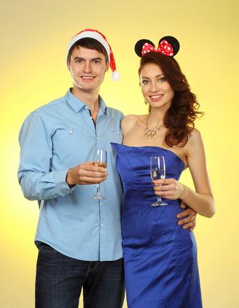 sweet couple: Portrait of sweet couple. couple of lovers  celebrate Christmas