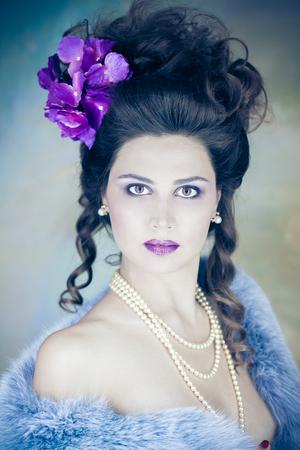 female magazine: Photo art portrait of the female. Vintage portrait for the glossy magazine. Jewelry and Beauty. Fashion art photo