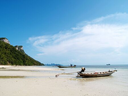 angthong: A small boat on an island of angthong national park, Thailand Stock Photo