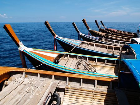 koh: Taxi boats waiting for transfering tourists to Koh Lipe Stock Photo