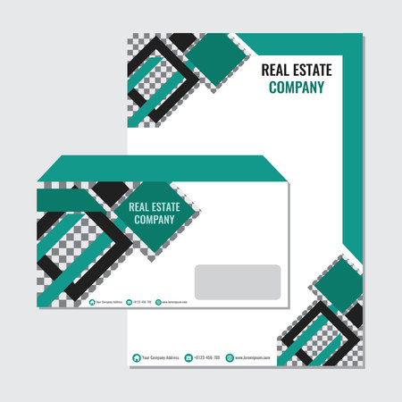Real Estate business paper envelope template vector design with green rhombus and borders. Vectores