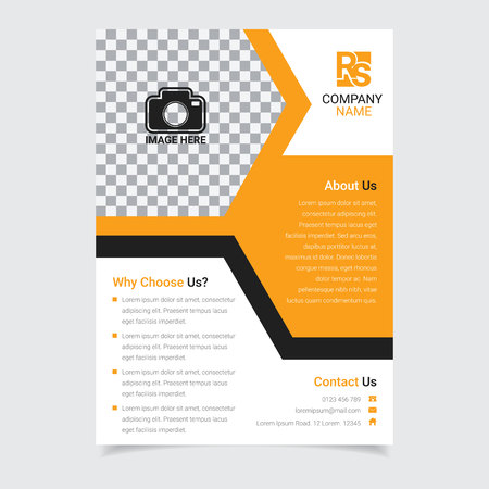 Corporate business brochure template vector design with amber color hexagonal abstract illustration 矢量图像
