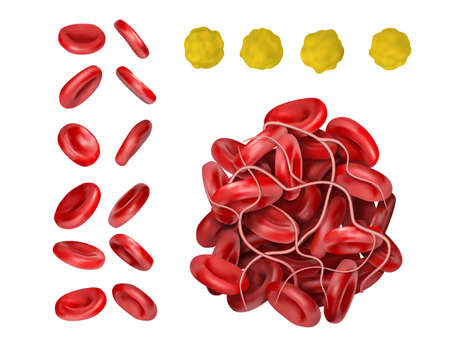 Set of erythrocytes, thrombus and cholesterol. 3d vector illustration