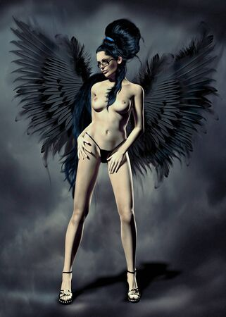 A fallen angel in a shape of a smoking hot long-legged beauty, wearing only her heels and a thong. Stock Photo - 10983224