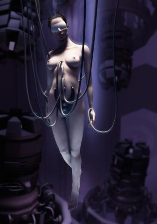 3d nude: A classic Cyberpunk motive: the beauty of a woman