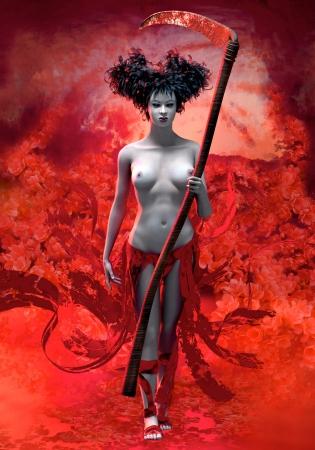 guadaña: La Parca tiene una forma de una mujer con peinado extravagante.
