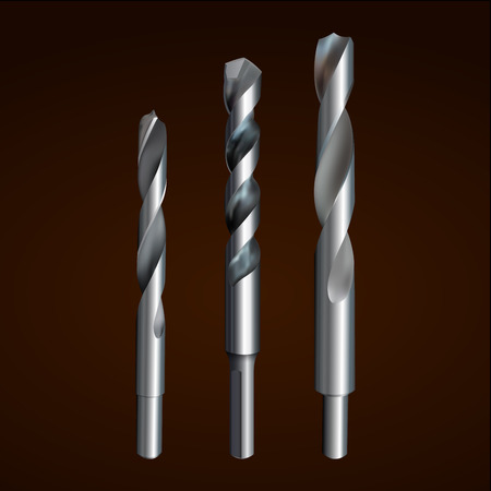 Vector illustration depicting realistic drill bit on a dark background. Set of three pieces.