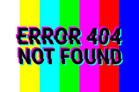 not found: Design pages - 404 Error. Technical defficulties. Page, file not found. The color bars, rainbow. Vector illustration.
