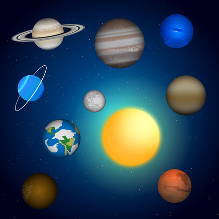 and saturn: Solar system. Sun, Mercury, Venus, Earth, Mars, Jupiter, Saturn, Uranus, Neptune. Vector design elements