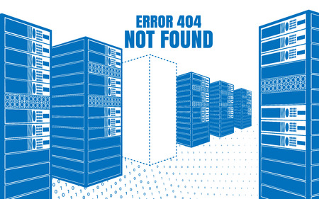 text room: Error 404 Not Found. Vector illustration of the servers in the blue colors on a white background. Design error page for your website. Illustration