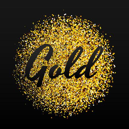Gold sparkles on black background. Gold glitter background. 向量圖像