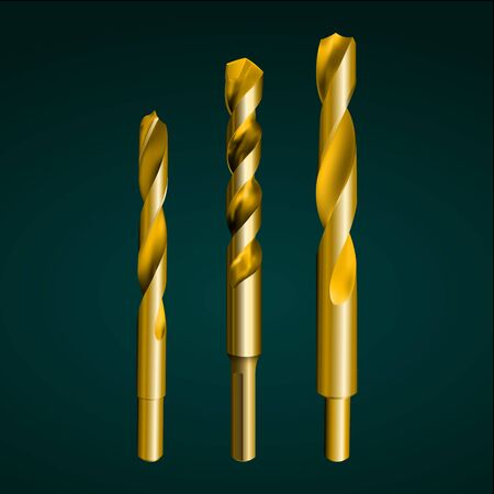 drill bit: Vector illustration depicting realistic gold drill bit on a dark background. Set of three pieces. Illustration