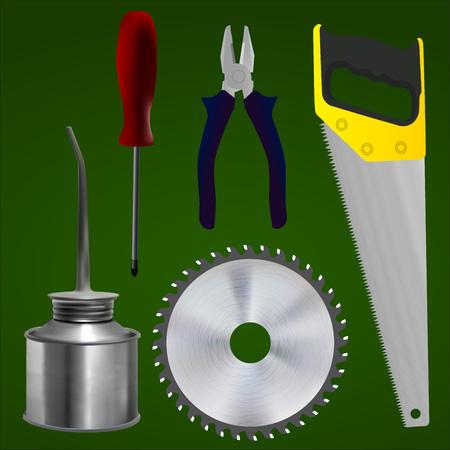 oiler: Set of tools. Screwdrivers, pliers, saws, cutting disc, oiler.