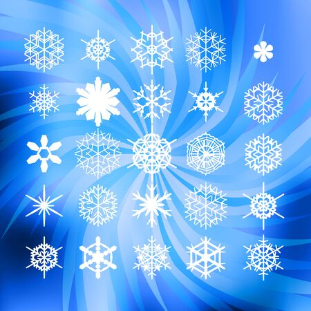 swirled: set of white snowflakes swirled blue background