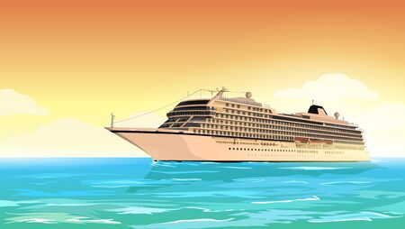 sea port: Cruise ship in the sea at sunset. Illustration
